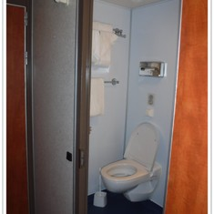 Toilet in bathroom in oceanview stateroom E160