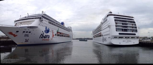 MSC Opera and Grand Mistral in IJmuiden, The Netherlands
