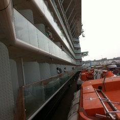 The side view of Solstice and lifeboats