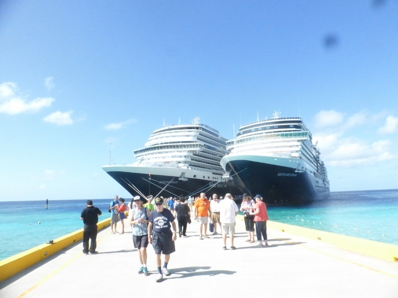 Two HAL ships in port at Grand Turk - Koningsdam