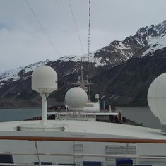 The front of the ship through Glacier Bay