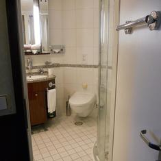 Shower, sink and toilet