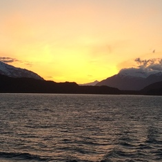 Sunset leaving Skagway