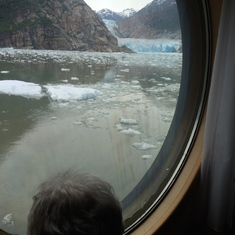 Mom enjoying South Sawyer Glacier from our cabin