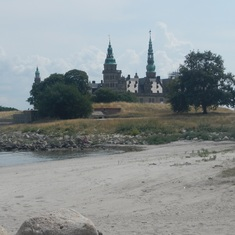 Kronborg Castle, some people were in the water
