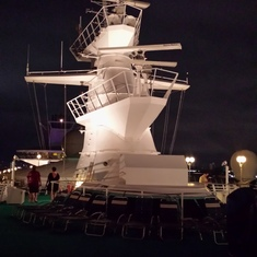 Night view of Top deck