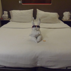 Bed with Towel animals