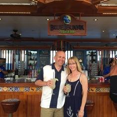 enjoying a drink at the Blue Iguana
