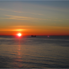 NCL Spirit. View from balcony. Sunrise in Alicante.