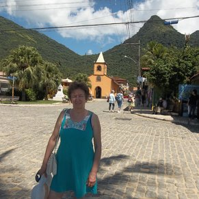 Ilha Grande, Brazil. Oldest and most beautiful church building, with mountain in the back view