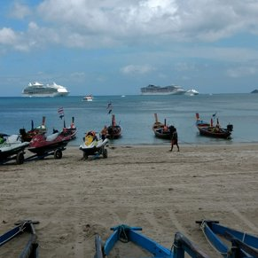 Two cruise ships in bay of Perket