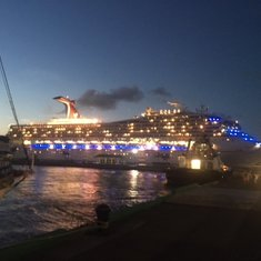 View of the Carnival Victory from port at night