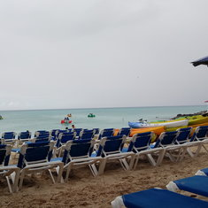 another view of the beach, water bikes in the backgroud!