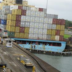 Ship lowered in Gatun Locks.