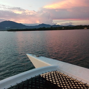 Unspoiled mountain views on looking West in Puerto Princesa Bay.
