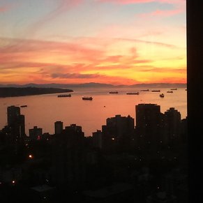 Sunset over Vancouver Harbor.