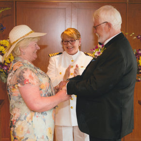 Renewal of our wedding vows officiated by Captain Inger Klein Thorhauge