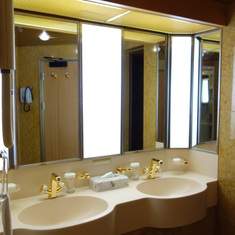 Dual Sinks with Glass that do not fit holders, April 2014 after Dry Dock