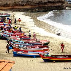 Fishing boats in the bay & beach in Tarrafal