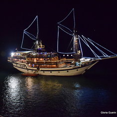 This is a photo of a pirate ship (for tourists) as it passed us while we were docked overnight.