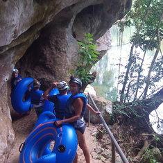 The LONG trek to begin cave tubing