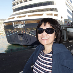 Funchal, Madeira - My wife in front of our ship, ms Rotterdam, docked in Funchal (Madeira),