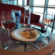 Sitting in the Centrum with our own wine and a cheese plate from the windjammer