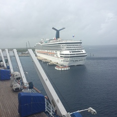 View from our balcony of another Carnival ship