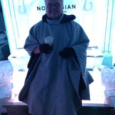 Sitting in the ice bar