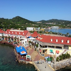 View from ship of the port of Roatan Honduras.