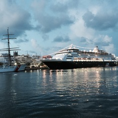 Hamilton, Bermuda - The Veendam, next to the Coast Guard Eagle