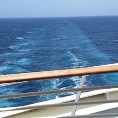 Aft balcony, at sea