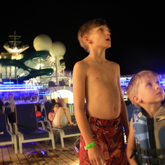Movie night on Lido Deck around pool and water slide