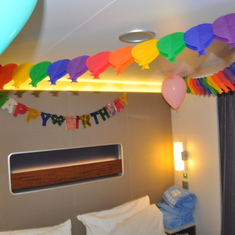 celebrated a bday, they had decorated cabin and left a yummy cake