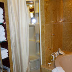 Shower in Bathroom of Pinnacle Suite, after Dry Dock in April 2014, with Curtain