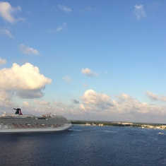 A nearby ship at sea