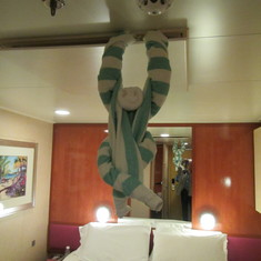 A towel monkey joined us for our last night on board
