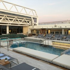 Main pool deck with retractable roof