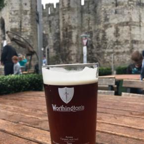 Pint in front of Caernarvon Castle