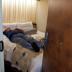 """""""Large Spa Stateroom"""". Notice that the door touches the bed!!!"""