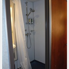 Shower in bathroom in oceanview stateroom E160