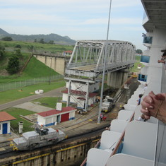 Entering the Miraflores Locks from our balcony.