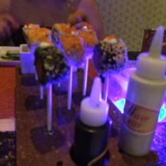 """Sushi """"lollipops"""" at Qsine"""