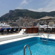 Monte Carlo, Monaco - Monte Carlo relaxing in the Jacuzzi & pool