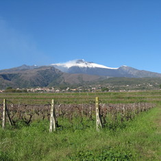 Snow capped Mt Etna, Sicily, one wine tour