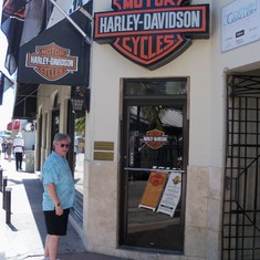 We go to all the Harley Davidson shops that we come across.