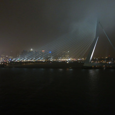View of a bridge in Rotterdam, Netherlands, from our cabin balcony.