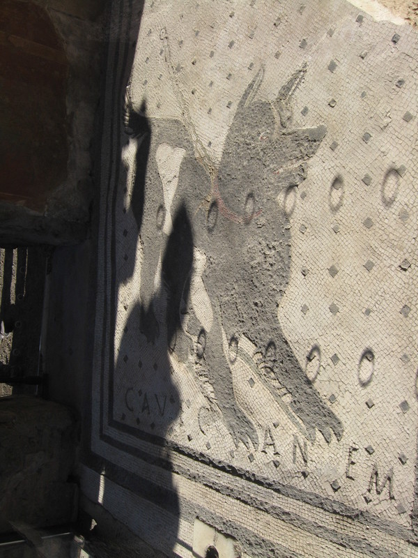 Naples, Italy - Pompeii famous tile doorstep. Beware of dog.