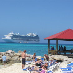 Looking back at Ruby from Princess Cay excursion.