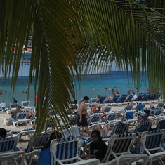 View of the ship from the beach at Grand Turk
